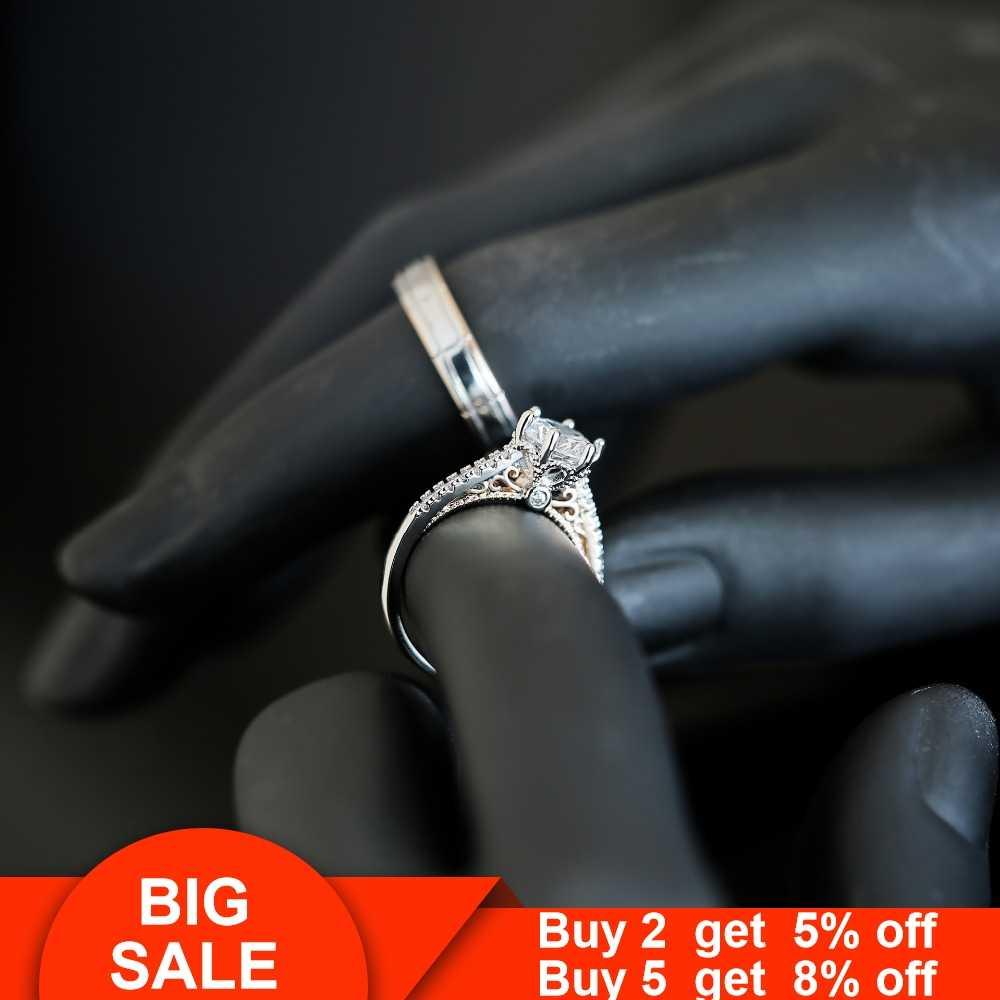 Vintage Lover ring sets Gold Filled Crystal cz Promise Paar Wedding Band Ringen voor vrouwen mannen Engagement Mode-sieraden