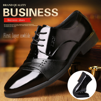 Men's shoes leather shoes Korean version of the business dress wedding spring and autumn 2019 new black suede leather