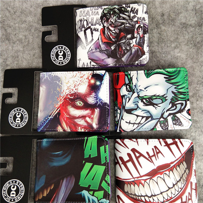 Joker Wallets Hot New Style Leather Purse Cartoon Comics Boy Girl Creative Gift Harlequin Joker Cosplay Wallet With Coin Pocket
