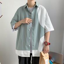 Мода цвет контраст короткие рукава отложной воротник мужские свободные повседневные топ рубашка