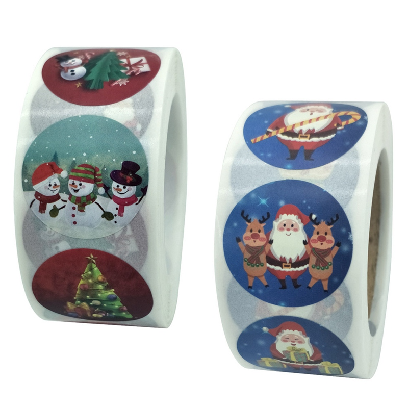 500 Pcs/Roll Merry Christmas Round 1 inch Stickers Christmas Sticker Holiday Gift Sticker Envelope S