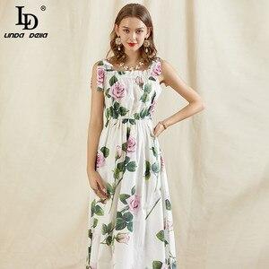 LD LINDA DELLA модное подиумное летнее хлопковое платье для женщин на бретельках винтажное платье миди с цветочным принтом для отпуска А-силуэта