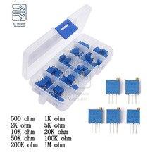 3296W Multi-turn Trimmer Potentiometer 500R 1K 2K 5K 10K 20K 50K 100K 200K 1M Ohm Assortment Kit 10 Values Variable Resistance