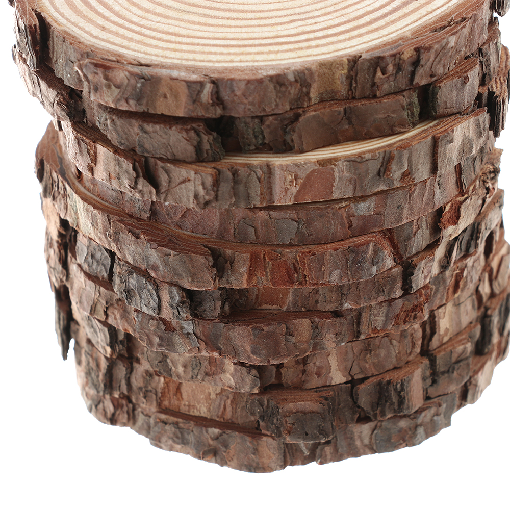 10pcs Unfinished Natural Round Wood Slices Circles With Tree Bark Log Discs For DIY Crafts Wedding Party Painting Decoration
