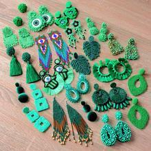 ROYALBEIER Green Beaded Drop Earrings Bohemian Fringed Tassel Earrings Women Statement Jewelry Pendant Earrings Wholesale bohemian beaded tassel drop earrings