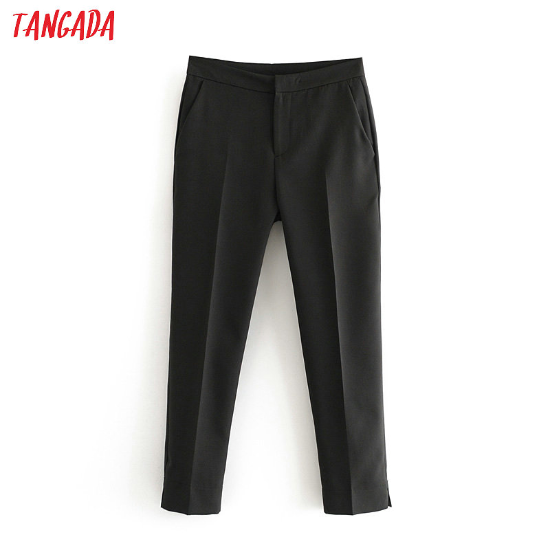 Tangada Fashion Women Classic Suit Pants Trousers Pockets Buttons Office Lady Pants Pantalon 6A154