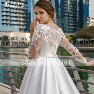 Image 4 - Adoly Mey New Arrival Scoop Neck Button Satin A Line Wedding Dresses 2020 Full Sleeve Appliques Court Train Vintage Wedding Gown