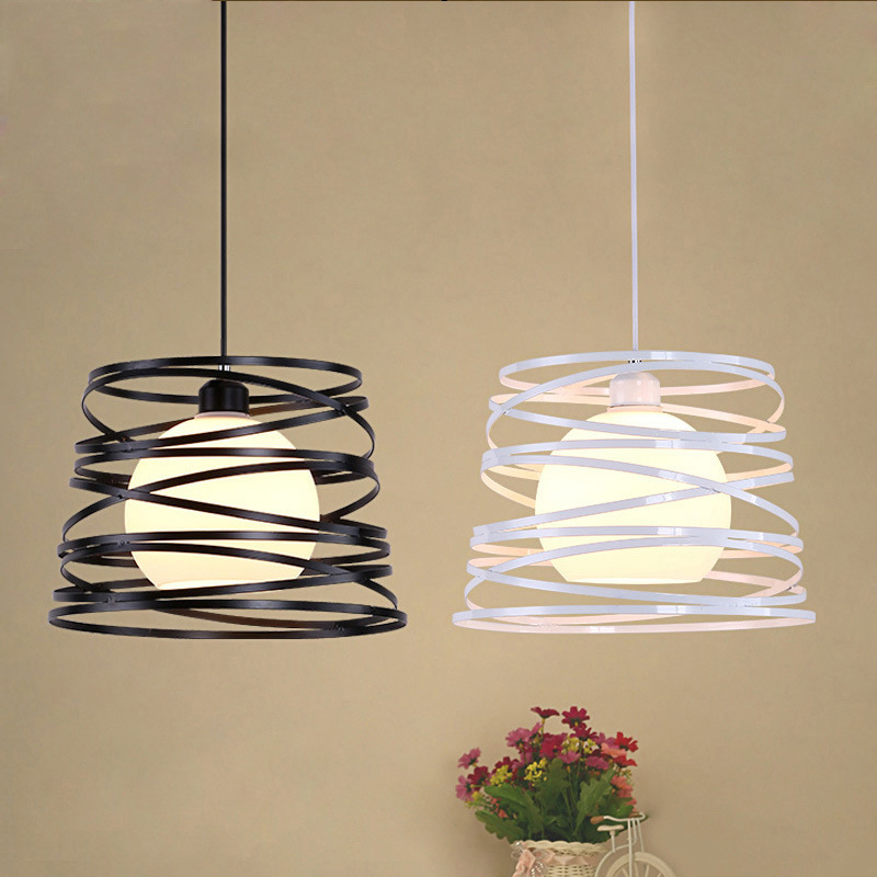 Simple Iron Spiral Pendant Light Shade Black / White For Kitchen Island Dining Room Restaurant Decoration Light Fixtures