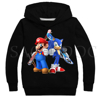 New Arrival Sonic and Mario Print  Kids Autumn Hoodies Toddler Boys Girls  Sweatshirts Children Outwear Long Sleeve Tops 2018 autumn new arrival girls chinese style cheongsam kids girls long sleeve crane print dresses surplice qipao clothes years