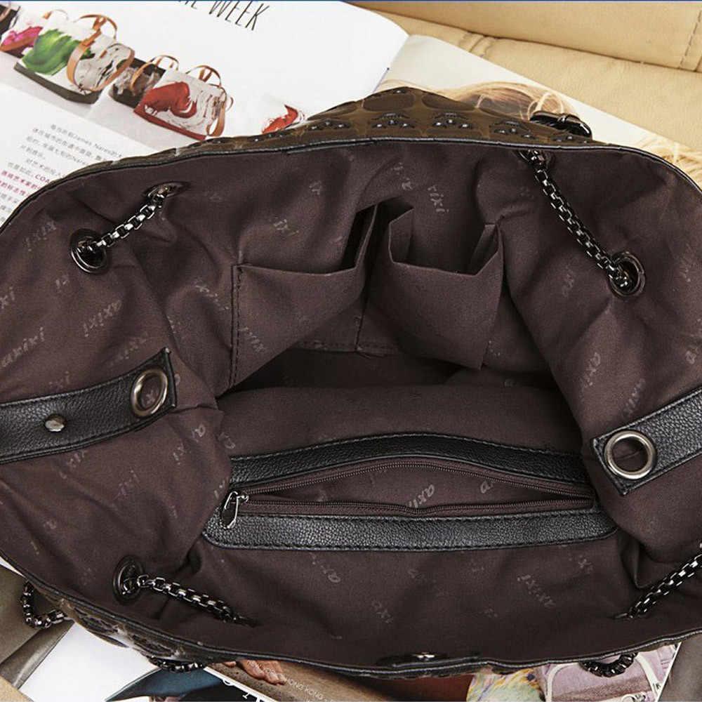 Женская сумка через плечо, Сумка с черепом, каркасная цепь, Готическая кожа, открытые вместительные сумки, женская сумка-рюкзак, сумка bolsos