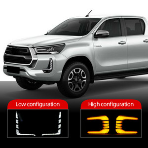 Image 2 - Car Flashing 1Pair Car LED Daytime Running Light Turn Yellow Signal Relay 12V DRL Daylight For Toyota Hilux Revo Rocco 2020 2021