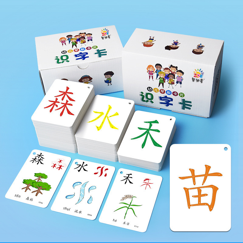 250Pcs/Set Chinese Characters Learning Cards For Preschool Kids Early Education Literacy Cards Memor
