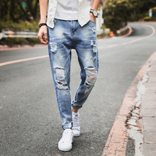 Summer Brand 2020 New Men's Slim Elastic Jeans Fashion Retro Casual Classic Style Jeans Denim Pants Straight Hole Trousers new brand personality fashion clothing style hole patch embroidery jeans 2017 men s fashion straight denim trousers blue