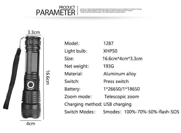 החזק ביותר XHP70.2 LED פנס XHP50 נטענת USB Zoomable לפיד XHP70 18650 26650 ציד מנורת לקמפינג