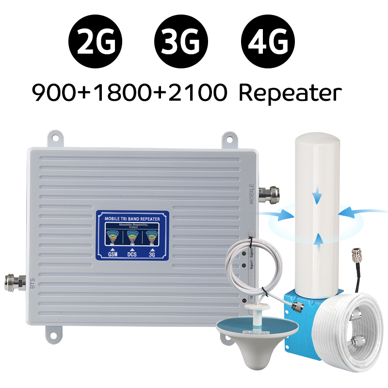 360° Omnidirectional Outdoor Antenna 900 1800 2100 MHz Signal Repeater GSM (Band 8) DCS LTE (Band 3) WCDMA (Band 1) Cellphone Booster 70dB Gain With LCD Display 2G GSM 900 3G WCDMA 4G LTE 1800 MHz Signal Amplifier SET