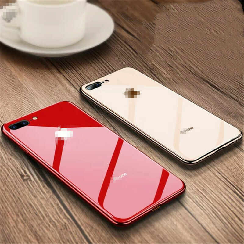For iphone XR X 7 8 Plus XSMax XS Tempered Glass Case Soft TPU Edge For Iphone 7 6S 6 Plus Electroplated Glasses Cover