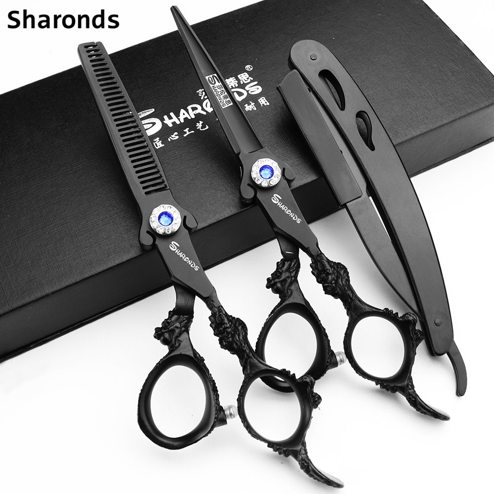 Professional Hairdressing Scissors Sharonds 6 Inch Barbershop Scissors Japan 440c Cutting Scissors Hair Scissors Razor