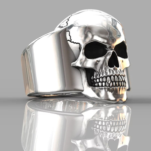 HNSP Punk skull ring for men male 7-14 big size Biker Jewelry