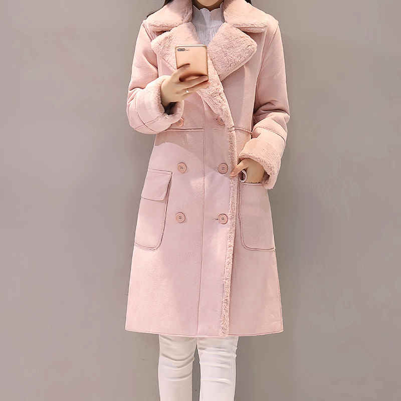 Manteau Femme Giacca Invernale Delle Donne della Pelle Scamosciata Cappotto di Lana di Agnello di Spessore In Cotone Imbottito Maxi Cappotti Giacca Lunga Parka Femminile Cappotto Delle Donne c5959