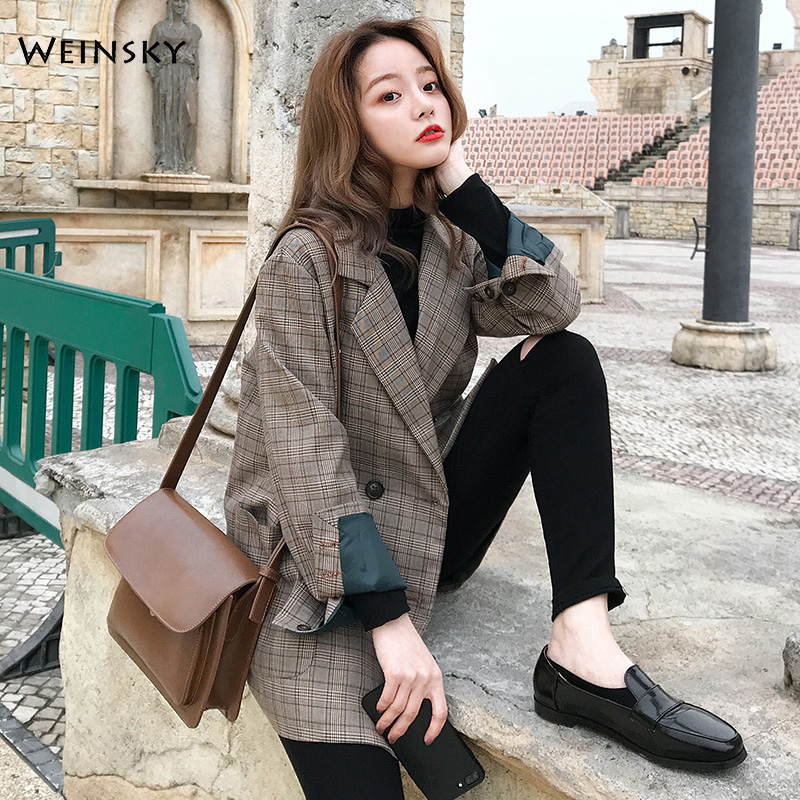 2020 New Fashion Business Interview Plaid Suits Women Work Office Ladies Long Sleeve Spring Casual Blazer