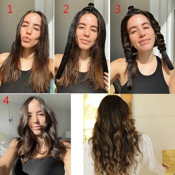 Lystrfac Slik Satin Heatless Hair Curler Headband for Women Hair Wrap Curling Ribbon Girls Scrunchies Headwear Hair Accessories 3