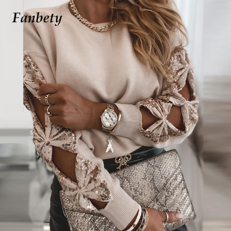 Women Elegant Solid Color Sequin Sweaters 2020 Autumn Winter Sexy Off Shoulder Pullovers Tops Ladies Casual Long Sleeve Sweater