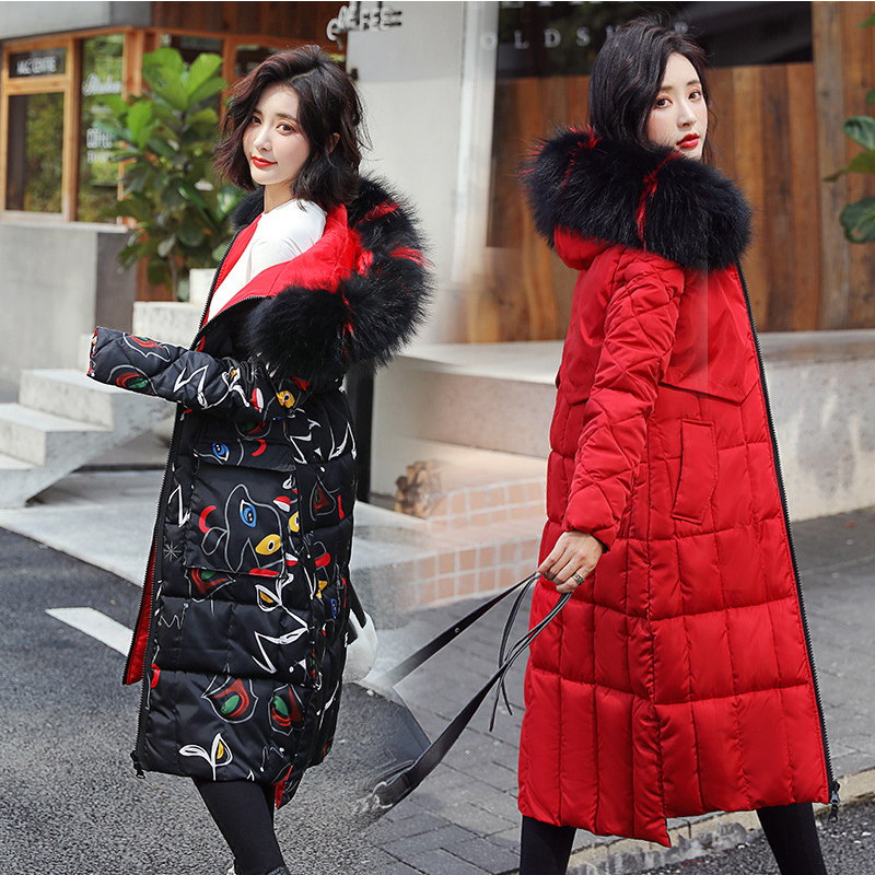 New Winter  Women's Down Coat Cotton-padded Mid-long Winter  Fur-collar Loose And Thicker Double-sided Wearing Jackets Female