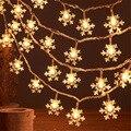 Рождественские украшения 3 м 20 светодиодный Снежинка светодиодный гирлянда гирлянды Батарея на солнечных батареях Светодиодные гирлянды Н...