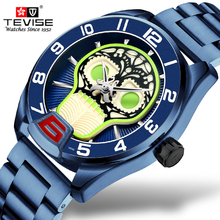 Tevise Mechanical Watches Stainless Steel Men Automatic Watch Fashion Luxury Blue Cool Skull Clock Relogio Masculino