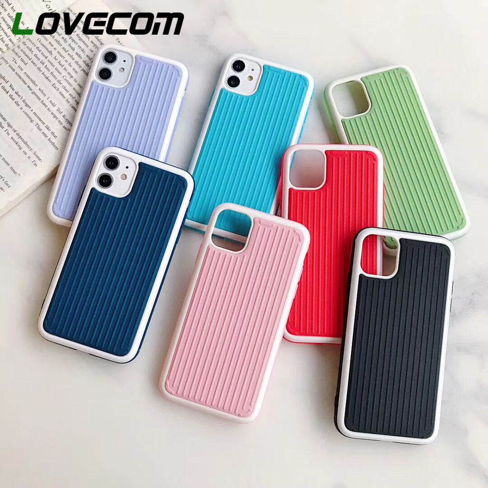 LOVECOM Solid Color Shockproof Phone Case For IPhone 11 Pro Max XR XS Max 7 8 Plus X Soft Silicon Stripe Phone Back Cover Coque