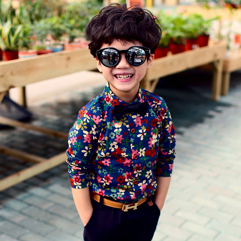 Детская одежда рубашка для мальчиков Новинка Весна 2020 детская хлопковая Цветочная рубашка с длинными рукавами и отложным воротником детск...