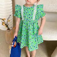 Vestido de encaje con estampado de retales para niños, ropa Floral con volantes, informal, de princesa, 2021