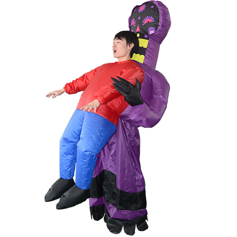 Inflatable Monster Costume Scary Purple Alien Mascot Cosplay Costume for Adult Funny Blow Up Halloween Purim Party Toys