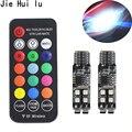 1 комплект, новый дизайн RGB T10 W5W 3535 10SMD RF яркие красочные для автомобиля светодиодный габаритный фонарь позиции светильник с пультом дистанци...