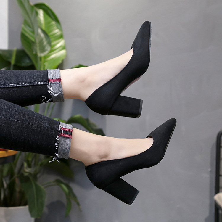 2019 Women's High Heels Sexy Bride Party Mid Heel Pointed Toe Shallow Mouth High Heel Shoes Women Shoes Big Size 35-46