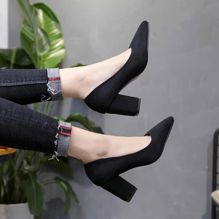 Zapatos de tacón alto sexis para mujer, zapatos de tacón medio con punta en pico y tacón alto, tallas grandes 35-46 2019