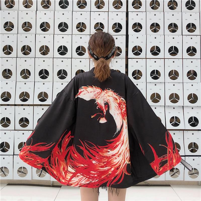Свободный размер, китайский стиль, белый, черный, свободный, летний, Harajuku, японская мода, кимоно, 2020, женский кардиган, азиатская одежда