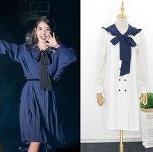 Gravata azul marinho arco vestido para as mulheres LUNA DEL Hotel mesmo IU Lee Eun Ji Longo e Solto Vestidos Japoneses outono e verão