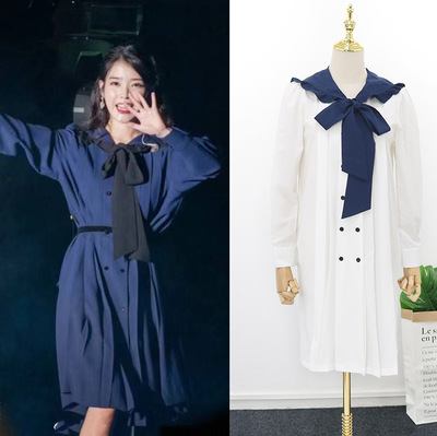 Navy blue tie bow dress for women DEL LUNA Hotel same IU Lee Ji Eun Long and Loose Japanese Dresses   Autumn and summer-in Dresses from Mother & Kids
