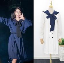 Vestido de lazo azul marino para mujer DEL LUNA Hotel mismo IU Lee Ji Eun vestidos largos y sueltos japoneses otoño y verano