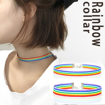 Charm Rainbow Choker Necklace For Women Gay or Lesbian Pride Lace Chocker Ribbon Personality Metal Collar Jewelry 2020 New image