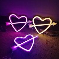 Luz de neón LED con forma de flecha en forma de corazón, señal de neón de arco iris colorida, lámpara de noche colgante de pared para fiesta en casa, vacaciones, Festival de boda