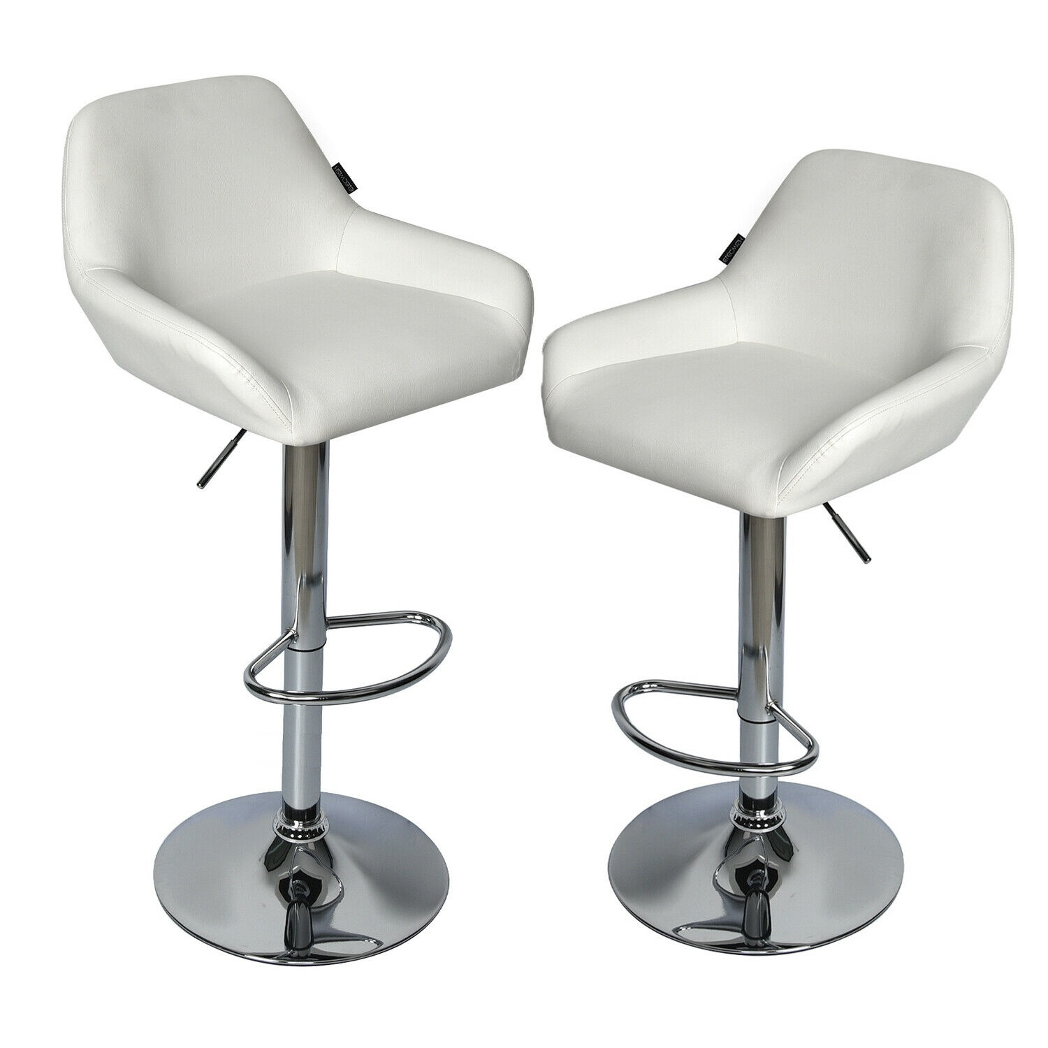 Set Of 2 PU Bar Stools Leather Swivel Chair Height Adjustable Pub Counter Seat