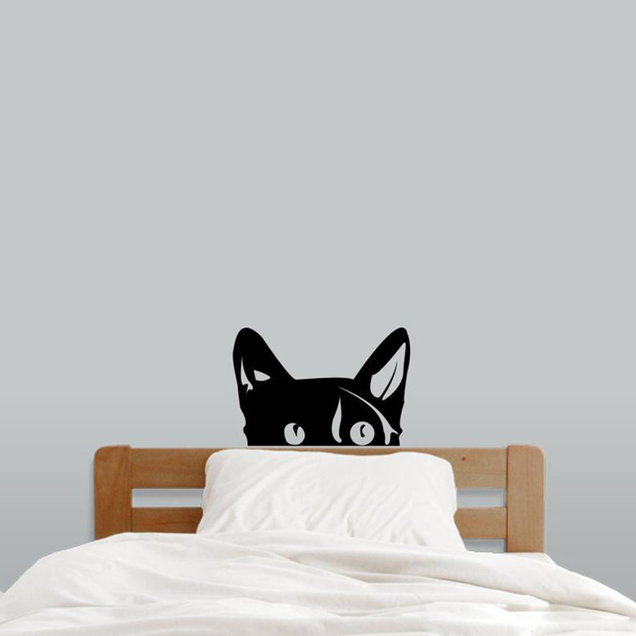 Peeping Cat Wall Decal Nursery Kids Room Playroom Classroom Wall Decal Cute Animal Pets Removable Wall Art Vinyl Stickers S551