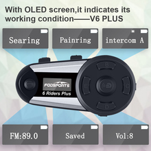 V6 PLUS 6 Pengendara Sepeda Motor Helm Interkom Lewat Headset Nirkabel Bt Full-Duplex Bluetooth Intercomunicador Interphone FM Layar OLED