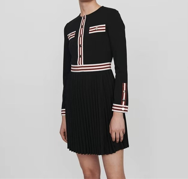 خليط اللباس النساء واحدة الصدر طويلة الأكمام يا الرقبة أزرار البسيطة اللباس الخريف-في فساتين من ملابس نسائية على  مجموعة 2