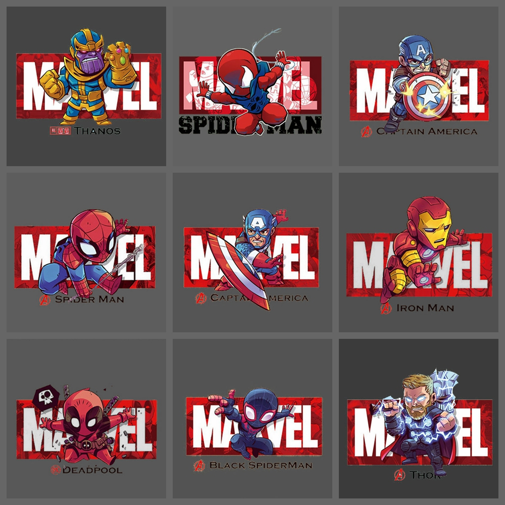 Marvels Avengers Spiderman <font><b>Ironman</b></font> iron on clothes stickers heat-sensitive <font><b>patch</b></font> application of applique boy heat transfer Decor image
