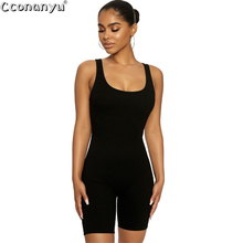 цена на Women Solid Sleeveless Jumpsuits 2020 Summer Round Neck Short Jumpsuits Skinny Bodycon Clubwear jumpsuits