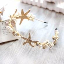 Shell Headband Jewelry Hair-Accessories Crystal Headpiece Starfish Tiara Crown Pearl