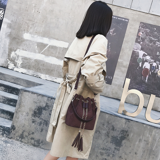 2019 New Mini Crossbody Handbags Cute Suede Bucket Bag Organizer Small Tassel PU Leather Womens Shoulder Messenger Bags Bolsos 1